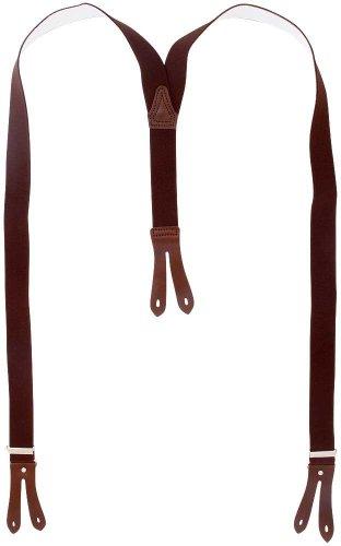 Harrys-Collection Hosenträger Knopfloch echte Lederpatten 11 Farben , Farben:dunkelbraun, Größen:130 cm - 2