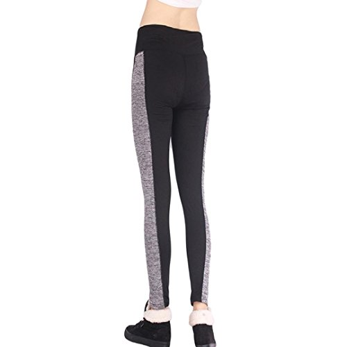 Ineternet Femmes Sport Pantalons Athlétique d'entraînement Fitness Yoga Leggings Pantalons de Gymnastique Noir