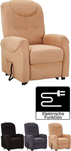 Cavadore TV-Sessel Basta mit Motor und Aufstehhilfe, Fernsehsessel, mit elektrisch verstellbarer Rückenlehne und Fußstütze, 75 x 110 x 92 cm, Mikrofaser braun