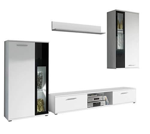 muebles bonitos – Mueble de salón Atila Blanco Mate y Cristal Negro (2,35m)