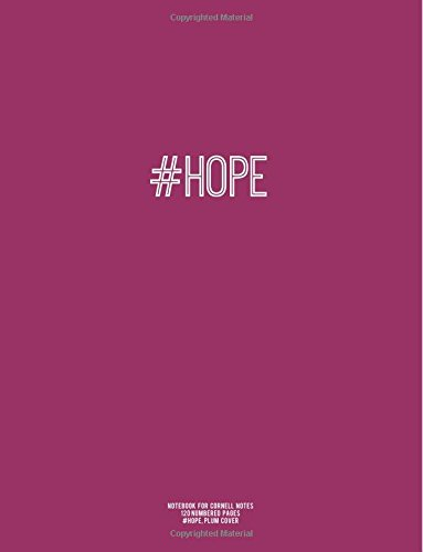 Notebook for Cornell Notes, 120 Numbered Pages, #HOPE, Plum Cover: For Taking Cornell Notes, Personal Index, 8.5