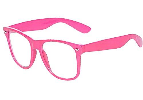 NEW UNISEX (Damen Herren) Retro Vintage Brille CLEAR LENS Saubere Linsen Retro Vintage Shades Morefaz(TM) (Pink clear lens)