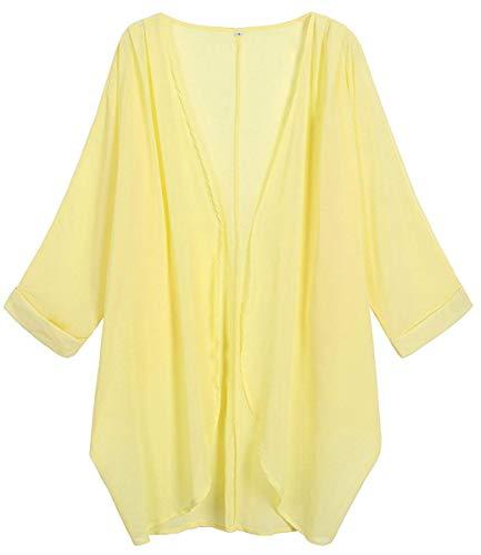 Gelber Kimono (Oudiya+Strandkleid Damen Chiffon Kimono Cardigan Einfarbig Print 3/4 Arm Sommer Cover up Schwarz Leichte Strand Jacke)