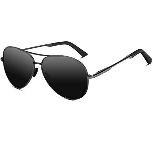 VVA Sonnenbrille Herren Pilotenbrille Polarisiert Pilotenbrille Polarisierte Sonnenbrille Herren Pilot Unisex UV400 Schutz durch V101 (B Schwarze/Asche -