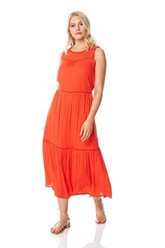 Roman Originals Damen Maxi-Kleid mit Lochstickerei - Damen Maxi-Kleid, bodenlang, Sommer, Urlaub, lässig, Strand, ärmellos, Rundhals - Orange - Größe 38
