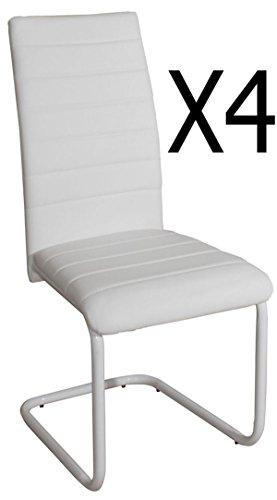 Lot de 4 chaises coloris blanc - Dim : 550 X 430 X 980 mm - PEGANE -