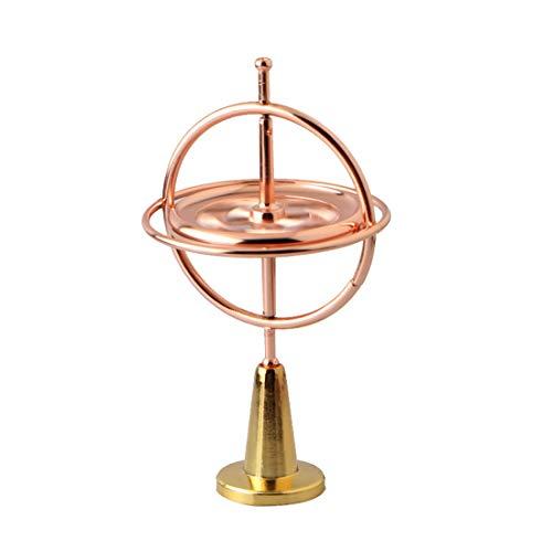 Jelinda Gyro Jeu de métal Anti-gravité Rotation précision Balance Jouet Gyroscope Argent décompression Cadeau Divertissement Enfants Adultes (Or Rose)
