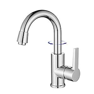 HOMELODY Wasserhahn Bad 360° Drehbar Armatur Waschbecken Mischbatterie Waschtischarmatur Einhandmischer Waschbecken…