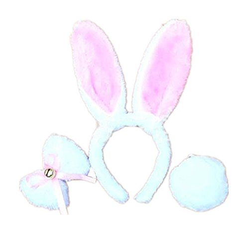 Womens Kids Fancy Dress Kostüme Plüsch Bunny Ohren Stirnband Kaninchen Fliege Schwanz Set Mid-length Weiß (Bunny Kostüme Kit Pink)