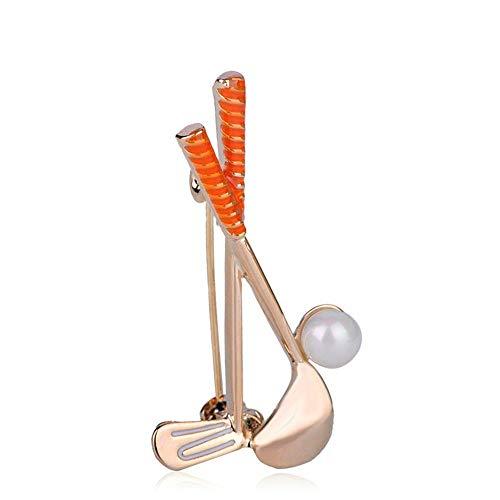 (GFDS Broschen Golf Clubs Ball Form Broschen Simulierte Perle Emaille Schmuck Pin Für Männer Frauen Schal Tasche Zubehör)