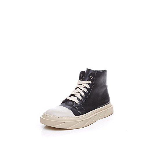 Chaussures en cuir chaussures 2017 _ laid Meng l'automne et l'hiver chaussures en cuir à tête ronde plate avec une dentelle confortable