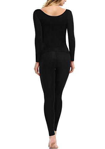 Yulee Damen Thermounterwäsche Set Einfarbige Einfache Stil Hemd und Hose in europäischen Größen Schwarz
