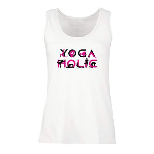 lepni.me Damen Tank-Top Yoga Holic, Positive Vibrationen, motivierende Workout-Zitate, Yogi-Liebhaber-Geschenk (X-Large Weiß Mehrfarben)