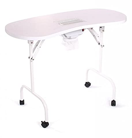 Urbanity portable mobile manicure nail table with extractor fan dust collector w