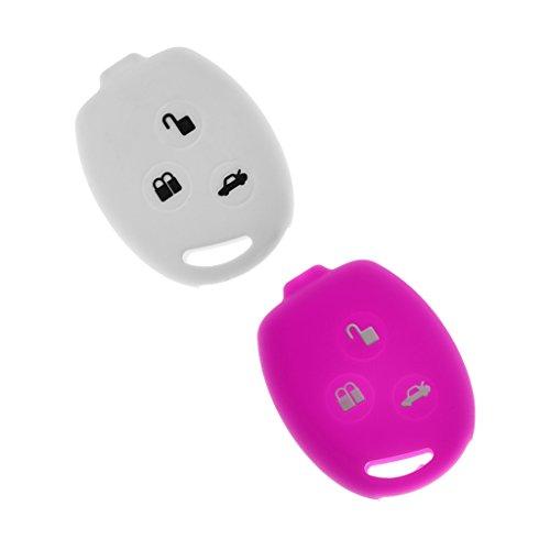 Sharplace Étui en Silicone Clé à Distance Protecteur Housse Couvre de Porte Clé 2pcs - Blanc et Violet