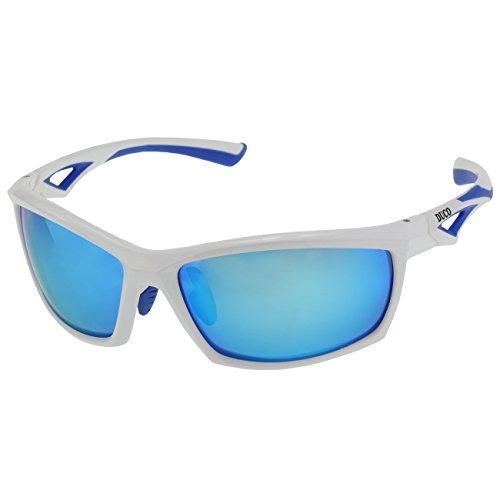 DUCO polarisierte Sonnenbrillen fürs Angeln Golf Outdoor Sportaktivitäten bruchfeste Sonnenbrille für Frauen und Männer TR90-Rahmen 6211 (Weiß)