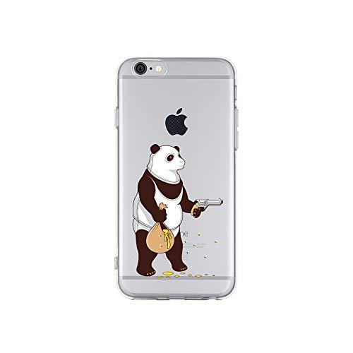 licaso iPhone 6 IP6 Handyhülle TPU mit Panda klaut Honig Print Motiv - Transparent Cover Schutz Hülle Aufdruck Lustig Funny Druck