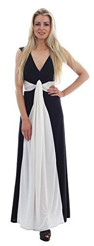 New Womens Plus Size Grecian Knot Contrast Color Panel Soft Long Maxi Dress ( Black , UK 16-18 / EU 44-46 (Size Kleid Grecian Plus)