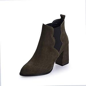 Top Shishang Herbst und Winter weiblichen Spitzen dicken High Heels Vintage Mattleder Martin Stiefel Chelsea Stiefel und Stiefeletten westlichen Stiefeletten