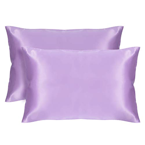 VEEYOO Seiden-Satin-Kissenbezüge, weich, atmungsaktiv, antistatisch, mit Hotelverschluss, 2 Stück, Weiß King Size Pillowcase (20