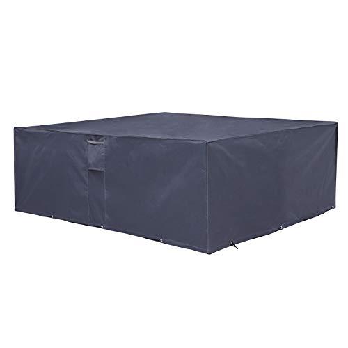 SONGMICS Schutzhülle für Gartenmöbel, 242 x 162 x 100 cm, Abdeckeplane für Tisch und Stühle, Outdoor, wasserdicht, rechteckig, grau GFC96G