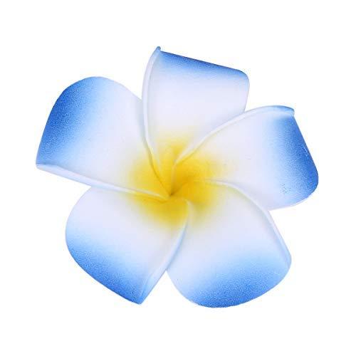 iKulilky 100 Stück Künstliche Blumen Köpfe,Plumeria Blume Köpfe,Hawaiianische Blütenköpfe für Hausgarten Hochzeit Party - Blau