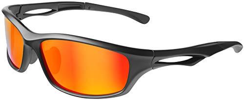 Balinco Polarisierte Sportbrille Sonnenbrille Fahrradbrille mit UV400 Schutz für Damen & Herren Autofahren Laufen Radfahren Angeln Golf (Matt Black - Red Mirror)