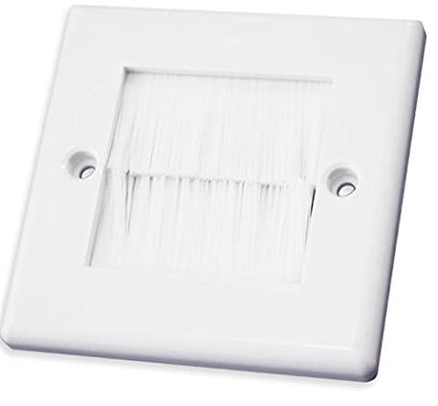 White Single Gang Brushplate with White Brushes / Brush Strip Wallplate / Wall Plate / Faceplate Cable Tidy by electrosmart® for Wall Mounted Plasma TV etc