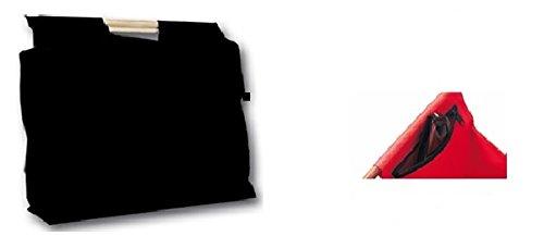 JOKA International Trendy Einkaufstasche mit Holzgriffen Jumbo Format 48x45x15 Farben/Designs zum auswählen Tasche Shoppertasche Tasche zum einkaufen (schwarz uni)