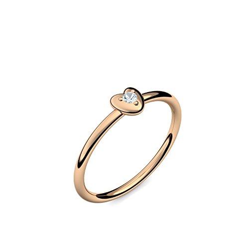 Rosegold Ring Aquamarin 585 + inkl. Luxusetui + PORTOFREI Aquamarin Ring Rosegold Aquamarinring Rosegold (Rosegold 585) - Cute Heart Amoonic Schmuck Gr. 60 (19.1) AM298 RS585AQFA60