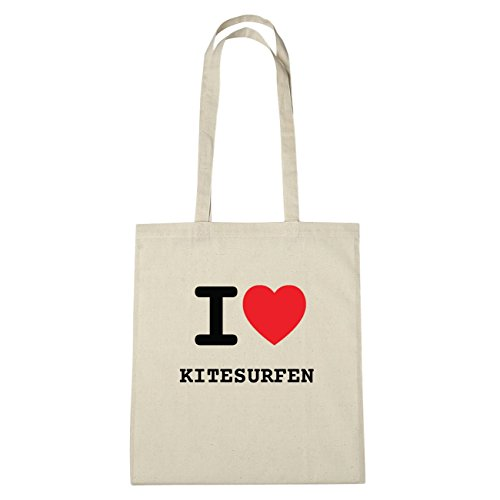 JOllify Kitesurfen Borsa di cotone b6242 schwarz: New York, London, Paris, Tokyo natur: I love - Ich liebe