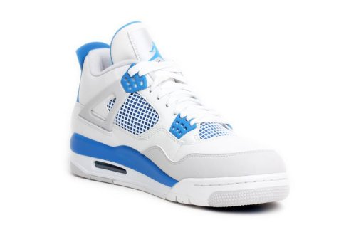 Nike Air Jordan 4 Retro Herren Sneakers in weiß/Military blau/neutral grau (308497-105)