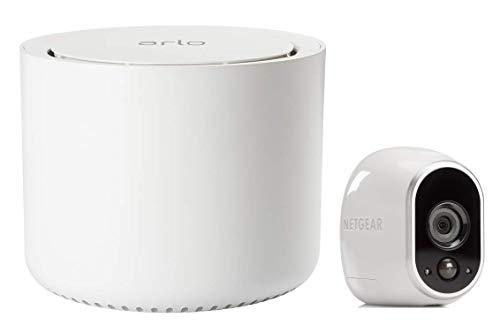 Arlo VMS3130-100EUS Smart Caméra de Surveillance - Pack de 1 - Kit de sécurité 100% Sans Fil, HD, Vision Nocturne, Etanche Intérieur/Extérieur, Fixation Aimantée, Blanc