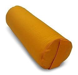 Merino Europa Yogarolle/Pilates und Yoga Bolster/Yogakissen Ø 22 cm x 65cm L, Bezug und Inlett 100% Baumwolle Farbe 35 DOTTER, Füllung: Kapokfasern - Made in Germany