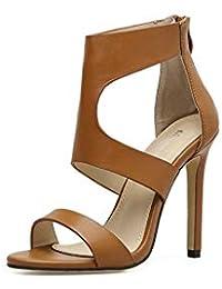 GHFJDO Sandalias Romanas de Las Mujeres, nuevos Zapatos Abiertos de Cuero del Dedo del pie