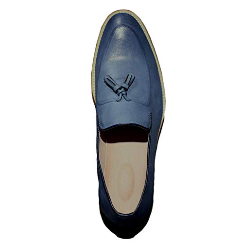 Qianliuk Männer Loafers Schuhe Vintage Tassel Leder Slip auf Schuhe -