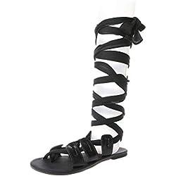 Alaso Sandales Spartiates en Cuir, Femme Gladiateur Bottes Été Flat Chaussures Romain Style Lacets Flip Flop Spartiate Chaussure Casual Plage