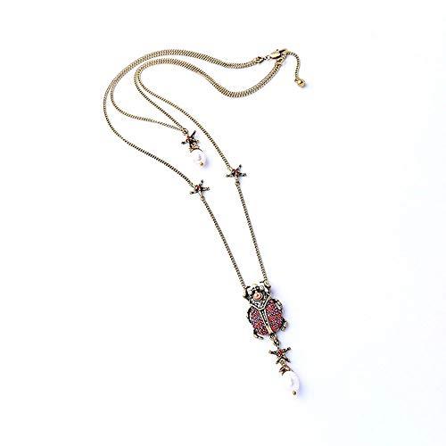 WY-EHSP Kristall Perle Insekt Halskette weibliche Persönlichkeit