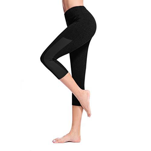 YpingLonk Seitentasche der Frauen, die fest laufende Ausdehnung-Siebenpunkt Yoga-Hosen näht Eng anliegende Fitness-Jogging-Stretch-Yogahose mit Sieben Punkten -