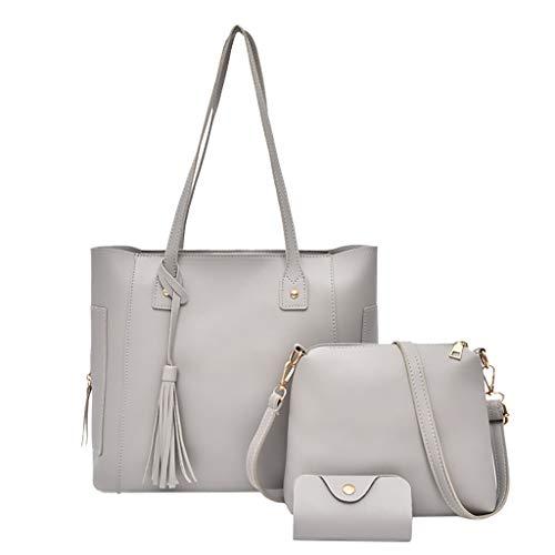Dasongff Handtasche Damen Shopper Schultertasche Handtaschen Kartenhalter Tasche set 3pc Groß Umhängetasche für Büro Schule Einkauf Reise Leder Handtasche
