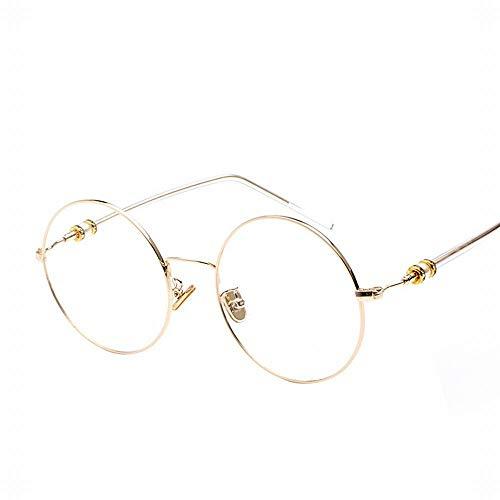 BAACHANG Flache Gläser für Frauen, Vintage Metall große Runde Brillengestell Ferienbrillen (Farbe : Gold)