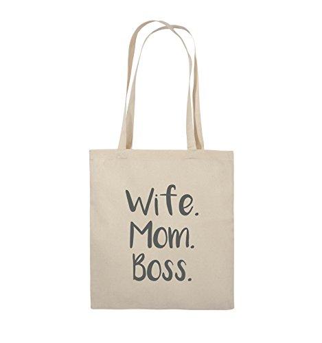 Comedy Bags - Wife Mom Boss - Jutebeutel - lange Henkel - 38x42cm - Farbe: Schwarz / Pink Natural / Grau