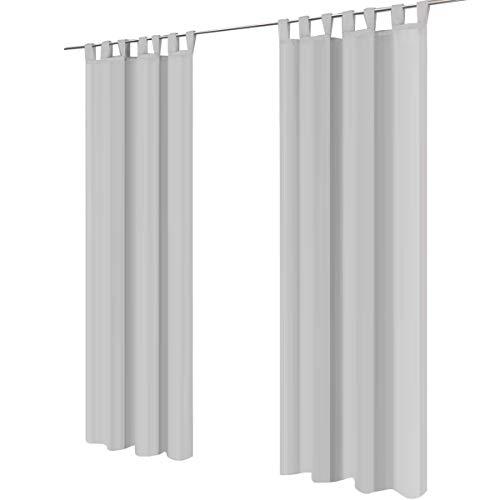 Lot de 2 gräfenstayn® venezia - rideau monochrome transparent en voile - nombreux coloris attrayants - dimensions (longueur x largeur) : 245x140cm chacun (gris)