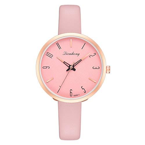 YUHUISTART Damenuhr Rosegold Analog Quarzuhr Armbanduhr Frauen Lederarmband Große Ziffern Arabische Ziffern Uhr Minimalistische Uhr Damen Klassische Damenuhr Slim Armbanduhr Damen (Rosa)