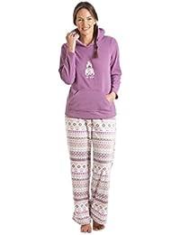 Camille - Conjunto de pijama con capucha para mujer - Diseño osito de peluche - Morado