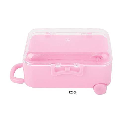 Candy Box-12PCS Mini Roll Reise Koffer Form Pralinenschachtel Hochzeit Gunsten Geschenk Dekor (Farbe : Rosa)