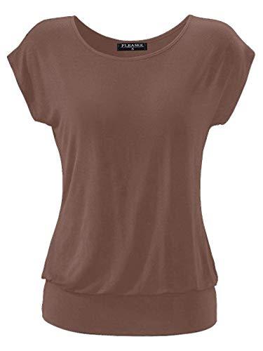 Fleasee Damen T-Shirt Kurz Ärmel Bluse Stretch Lässig Tunika Allover Druck Oberteile Top