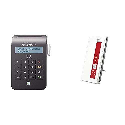 REINER SCT cyberJack RFID Chip-Kartenlesegerät komfort | Multi-Applikationsfähig) & AVM FRITZ!WLAN Repeater 1750E, Rot/Weiß, deutschsprachige Version