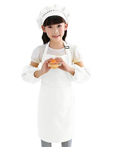 Monbedos set da cucina per bambini, bambini, grembiule da chef cappello e maniche copertura set per cucinare pittura party, White, 62*50cm