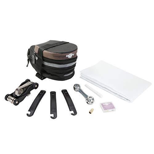 BTR erweiterbare Fahrradtasche / Satteltasche, große Gepäcktasche mit Reparatur-Set, selbstklebende Flicken x 6 & umfangreiches Fahrrad-Reparaturset zur Reifenreparatur mit Fahrrad-Werkzeugen